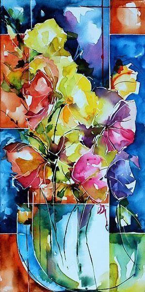 Escapade-toile (Peinture), 30x60 cm par Véronique Piaser-Moyen Aquarelle peinte sur toile