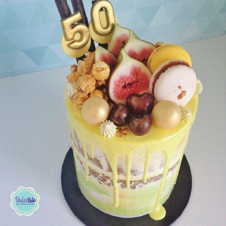#50thbirthday with fresh figs, cherries, caramel popcorn and chocolate balls! #Birthdaycake