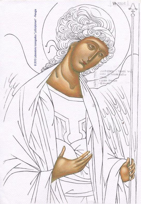 Studio icona Arcangelo Michele - twarz 08