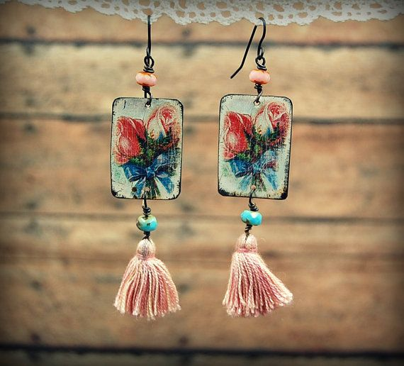 Vintage Tin Earrings with Pink Tassels Bohemian by PrimitiveFringe