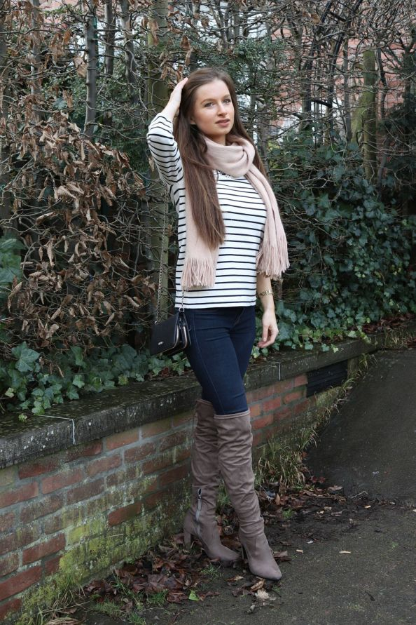 998b165a2 Winter outfit : Striped sweater with over the knee boots and pink scarf