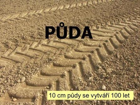 PŮDA 10 cm půdy se vytváří 100 let. VZNIK PŮD Svrchní část zemské kůry je ROZRUŠOVÁNA ZVĚTRÁVÁNÍ Rozpadlé nerosty a horniny (zvětraliny) VODA VZDUCH ORGANISMY.