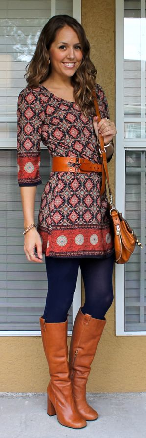 Printed dress with boots. * * Can also wear dress as a shirt by wearing pencil skirt over the top