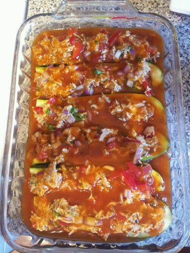 Low Carb Chicken Enchilida Stuffed Zucchini Recipe on Yummly. @yummly ...