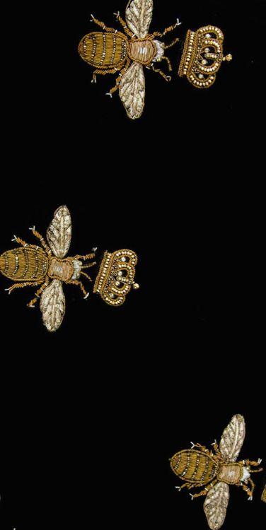 Rose Briar goldwork crowned bees