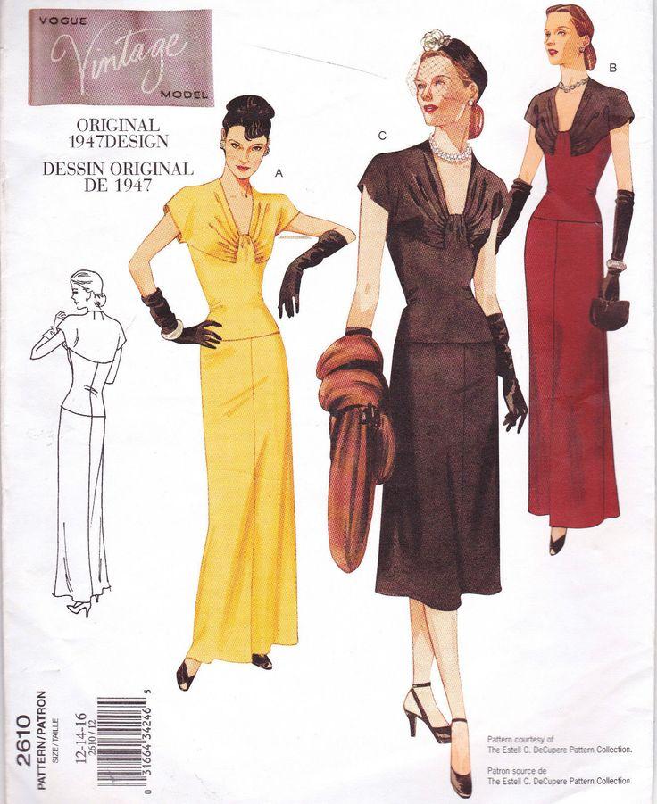 Vogue Sew Pattern 2610 Vtg Retro 1940s Hollywood Glamour Dress 12 14 16 | eBay