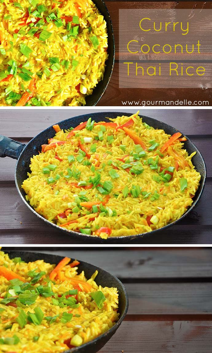 This healthy, #vegan curry coconut thai rice recipe is bursting with great flavors and vibrant colors! It's easy to make and ready super-fast!