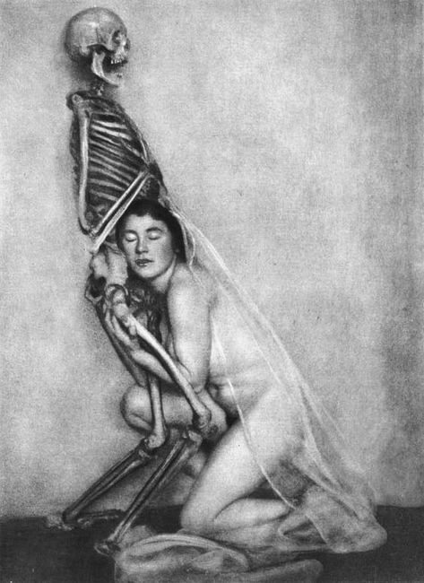 This 1922 photo by German photographer Franz Fiedler was part of a necromancy-themed series called Fool Death, My Playmate. woman with skeleton - vintage photography / strange weird creepy