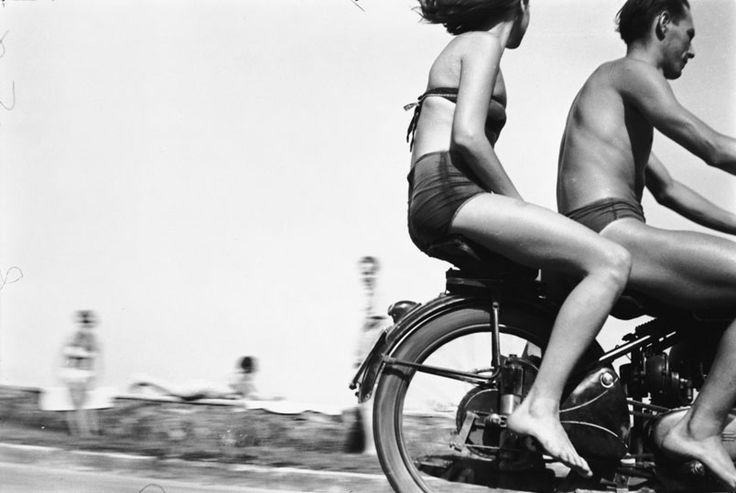 Motorcyclists at Lake Balaton, 1954 by Gabor Szilasi
