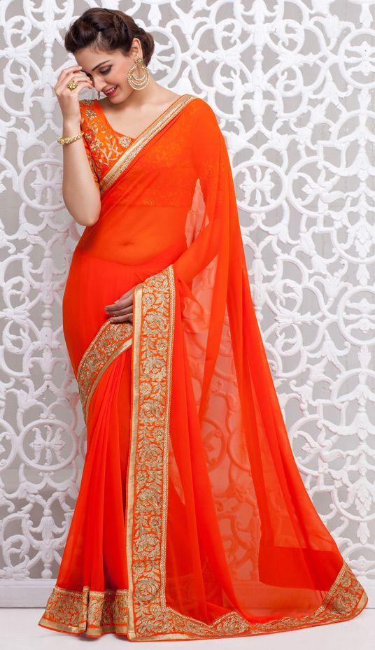USD 50.72 Orange Georgette Wedding Saree 43608