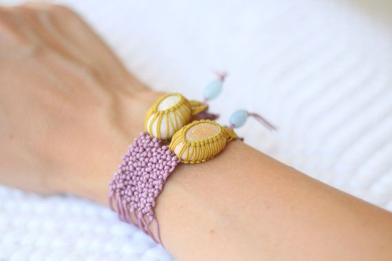 Lilac knotted two pebble macramé bracelet white and by ilepieces