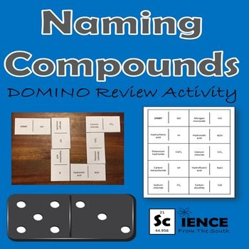 Domino Review activity for chemical nomenclature (Naming ionic, covalent, and acidic compounds)