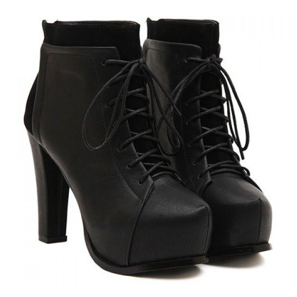 Fashion Chunky Heel and Black Design Women's Short Boots (€32) ❤ liked on Polyvore featuring shoes, boots, ankle booties, heels, black, short boots, heeled ankle boots, black boots, heeled booties y ankle boots