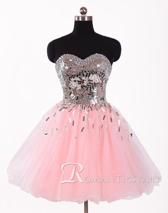2015 Stunning Pink Short Sequins Prom Dress, 80s Backless Prom Dress With Crystals, Ball Gown Homecoming Dress, Mini Cocktail Dresses