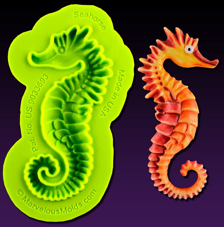 The Seahorse Mold creates a realistic looking seahorse cake decoration from fondant, gum paste, modeling chocolate and more.