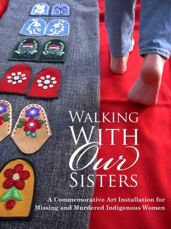 Walking With Our Sisters is a commemorative art installation to honour the lives of the 600+ missing and murdered Indigenous sisters. Over 700 people have committed to making a pair of moccasin 'vamps' ('uppers') for this art installation