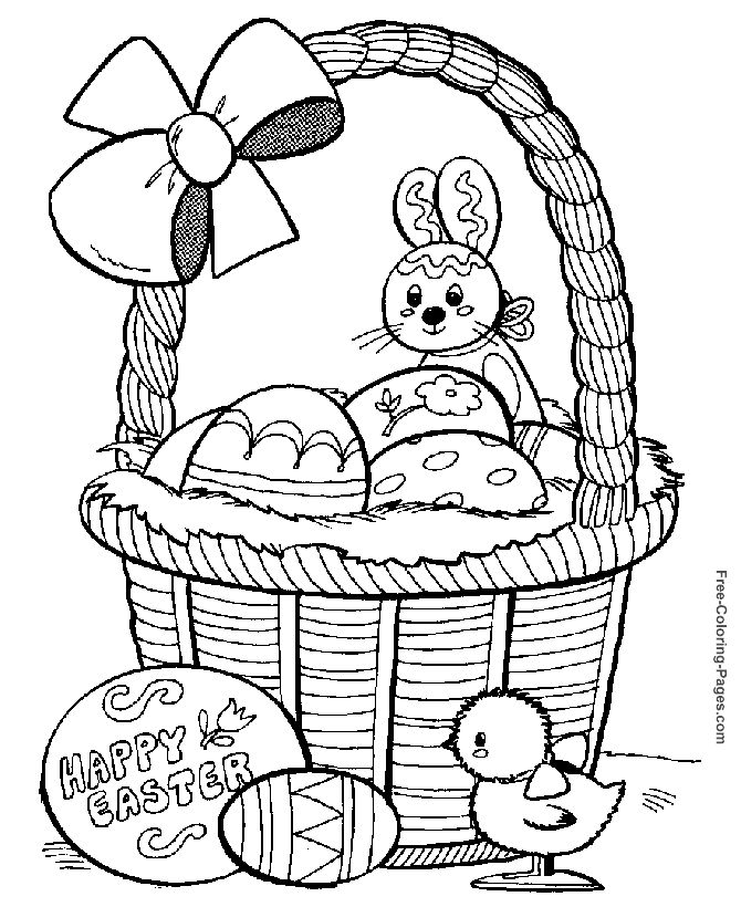 easter coloring pages basket and easter eggs - Easter Printable Coloring Pages