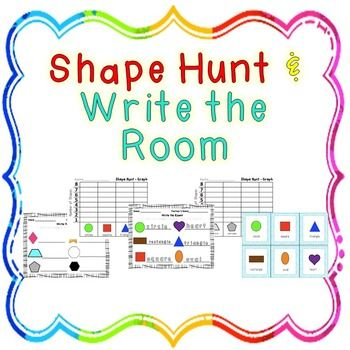 The Shape hunt is a tally sheet and graph. This product can be used as a Write the room activity for students w/ or w/o strong fine motor skills. The Write the room activity is best used with the Shape Postersand/or Multi Shape posters, however I have provided color and black and white flashcards to serve as Write the room Posters.All items provided in with black and white option.