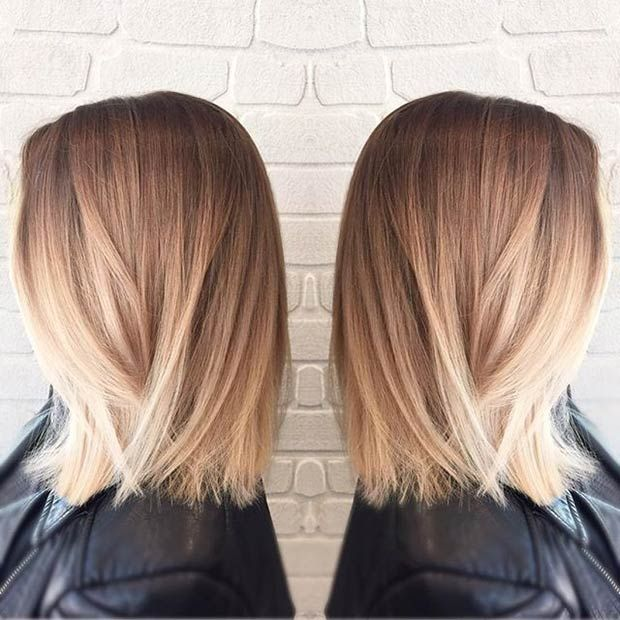 Straight Long Bob + Blonde Balayage