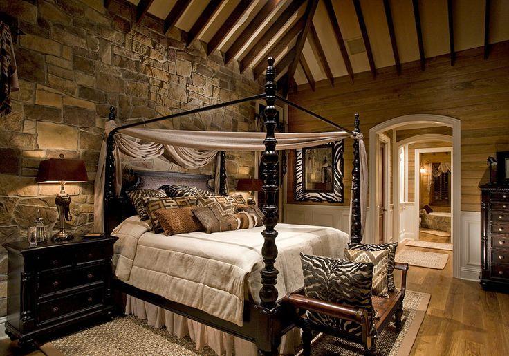rustic bedrooms Design- I love the zebra print mirror.