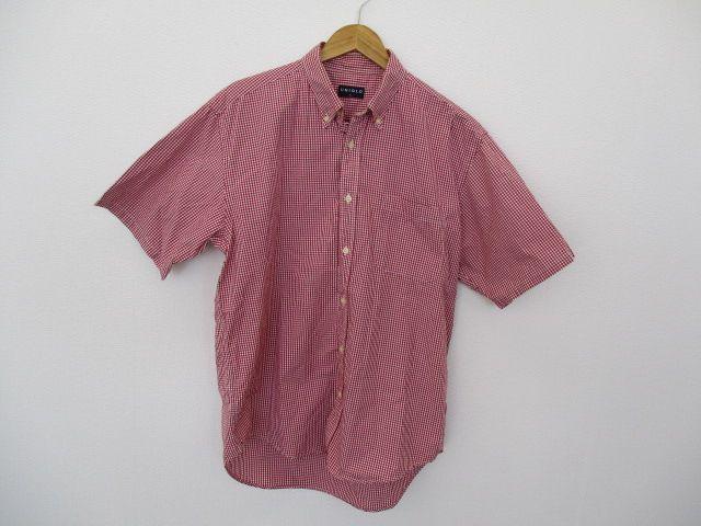 メルカリ商品: UNIQLO 半袖 ボタンダウン シャツ メンズ Lサイズ 赤 ギンガムチェック #メルカリ