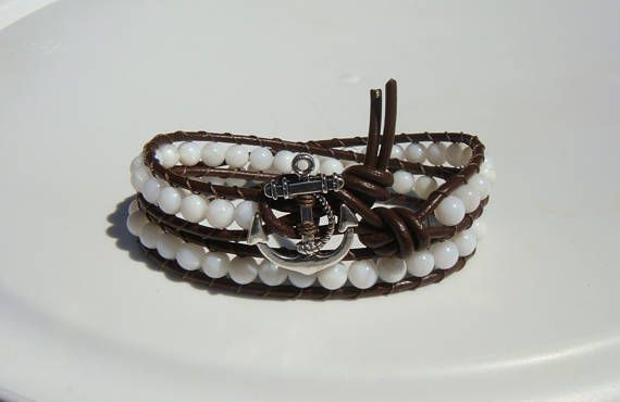 Anchor Bracelet Shell Beaded Leather Wrap Bracelet
