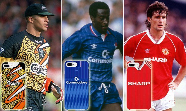 Man Utd, Chelsea and Arsenal retro shirts as phone cases