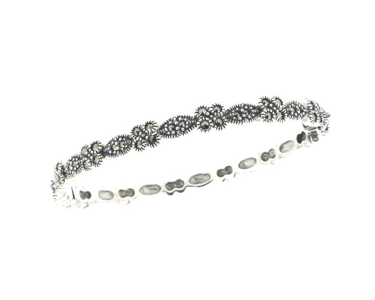 "Marcasite Bangle €248.00 Sterling Silver Hallmarked in Dublin Flower Design Hinged with foldover clasp for extra security Presented in a ""Chicago Marcasite Jewellery"" Box & Bag"