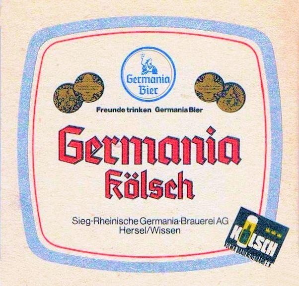 """Germania Kölsch - durfte nicht in Wissen gebraut werden,  sondern nur in Hersel als geschützte regionale Spezialität, Ab 1985 waren alle Kölsch-Biere nach der Kölsch-Konvention von 1985 als """"Kölsch"""" geschützt. Kölsch - ein obergäriges Bier (s. auch bei Wikipedia)."""