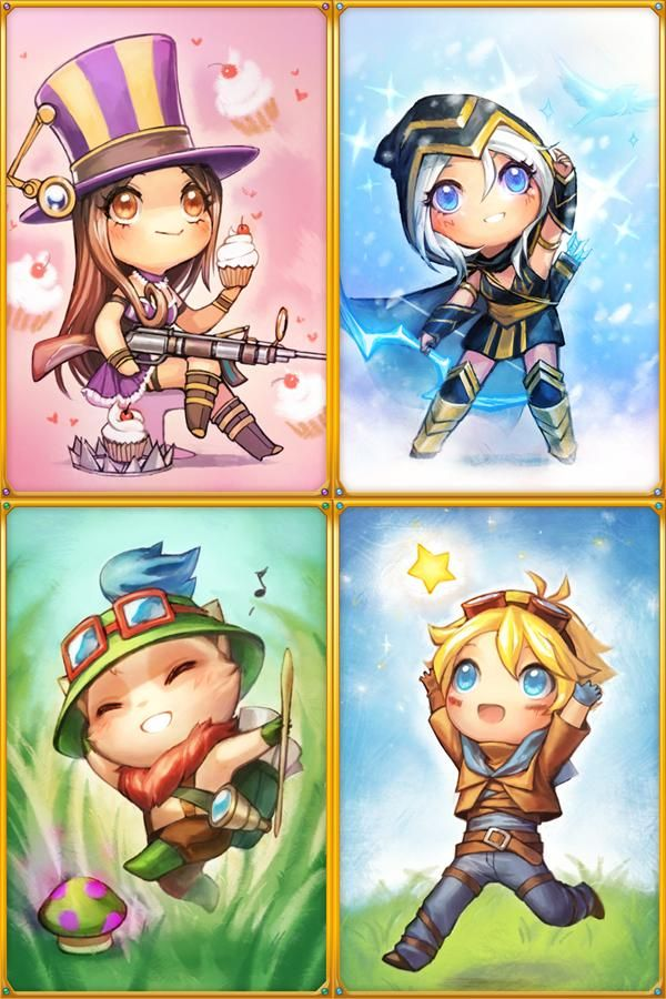 "League of Legends fanart ~ by devientartist ""JustDuet"" - chibi champions!  Caitlin, Ashe, Teemo, and Ezreal <3 sooooo cuuuuute <3"
