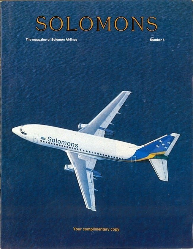 SOLOMON AIRLINES - Inflight Magazine - Number 5 National Airline of Solomons ITEM DESCRIPTION      Airline: Solomon Airlines     Magazine Name: Solomons     Date: Number 5     Magazine Comments:     Magazine Details: Includes route map     Comments: Flag carrier of the Solomon Islands founded in 1962