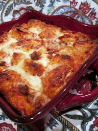 * Bubble Up Pizza using Grands Biscuits. Naturally the kids loved this. super easy. I did 1/2 recipe and cooked it in a large cast iron. toss together: 1 can biscuits cut into pieces, 8 oz sauce, 1/2 cup cheese, diced pepperoni,  top with another 1/2 cup cheese. bake 375, start checking center at 20 minutes