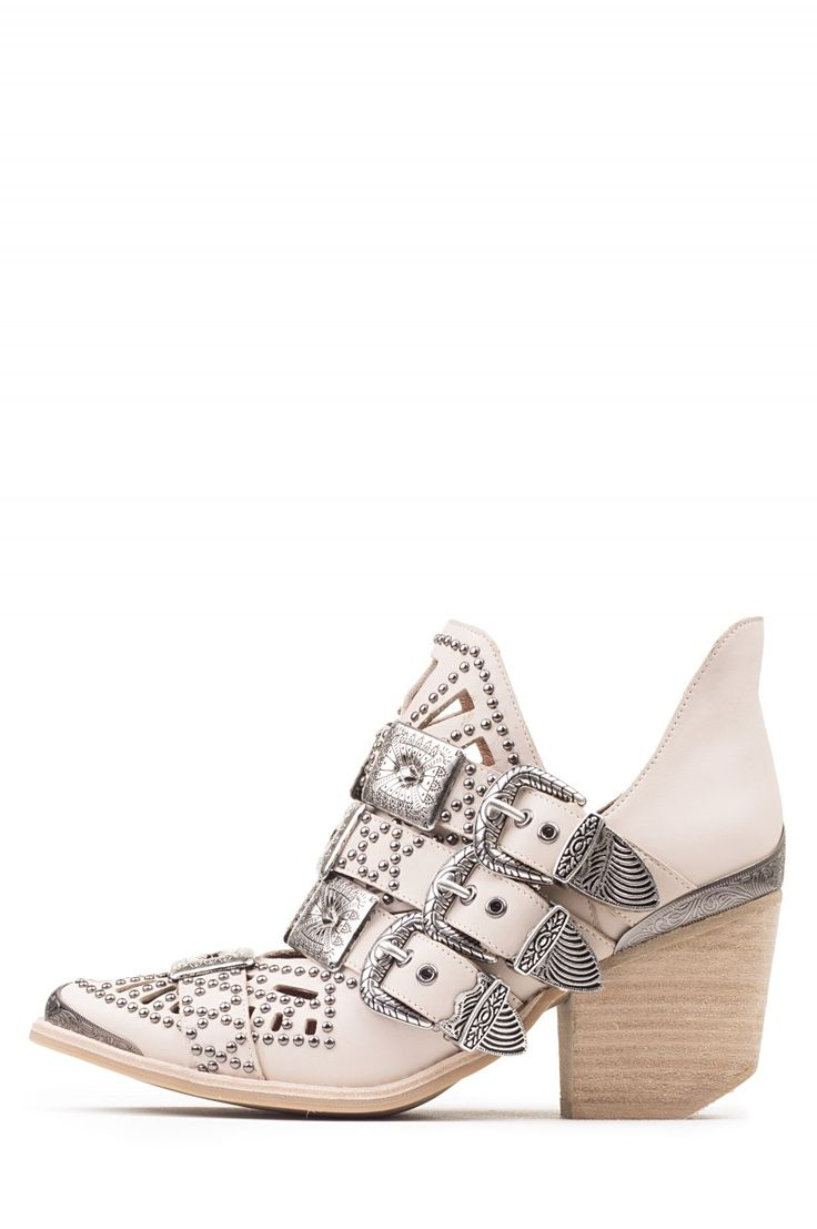 Jeffrey Campbell Shoes WYCLIFF-2 Booties in Beige Silver