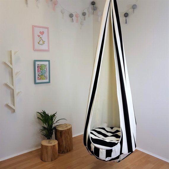 Cocoon Toddler Swing Indoor Hammock Chair Hanging Seat Black Etsy In 2020 Indoor Hammock Chair Toddler Swing Hanging Swing Chair Indoor