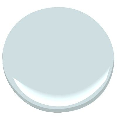 Benjamin Moore Summer Shower: soft teal, looks good in low light rooms