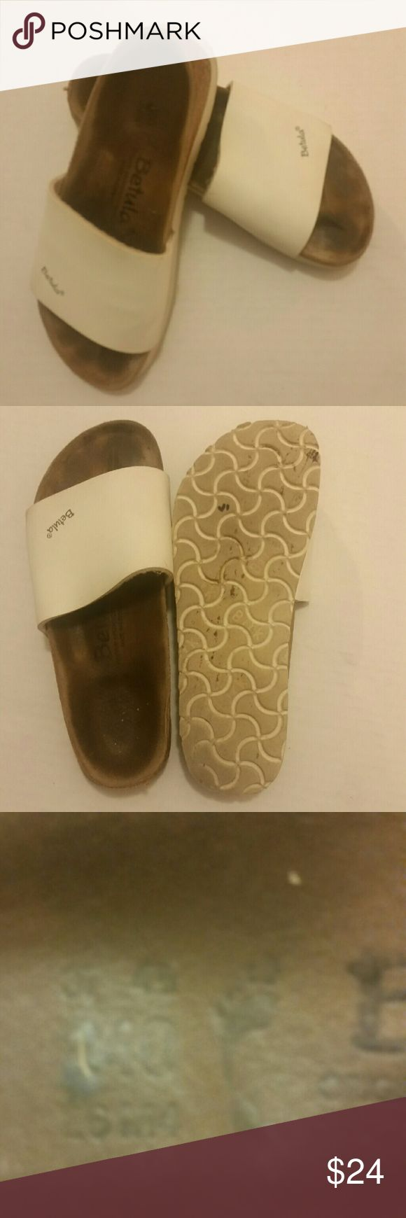 BETULA BY BIRKENSTOCK REGGAE SLIDE Sandal W6/M4 37 Soft fabric lining. Leather padded footbed. Man-made outsole. Made in Germany.  - Open toe - Wide strap vamp - Contoured suede-lined cork footbed - Slip-on - Imported Very good condition, priced to sell. Birkenstock Shoes Sandals