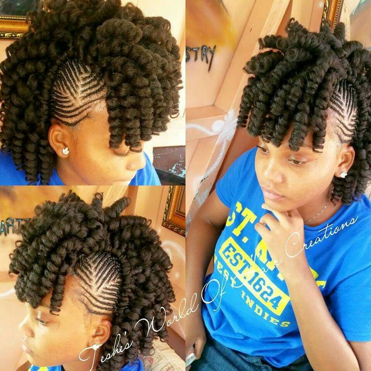 Crochet done with new afro twist braid with braided sides into a mohawk. Follow @byrdjewel for more!