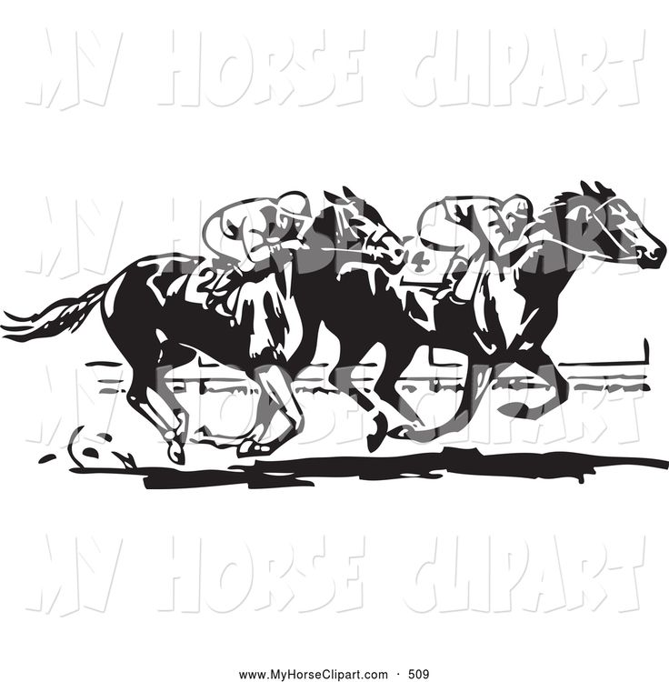 Race Horse Silhouette Clip Art Royalty Free Black And White Stock
