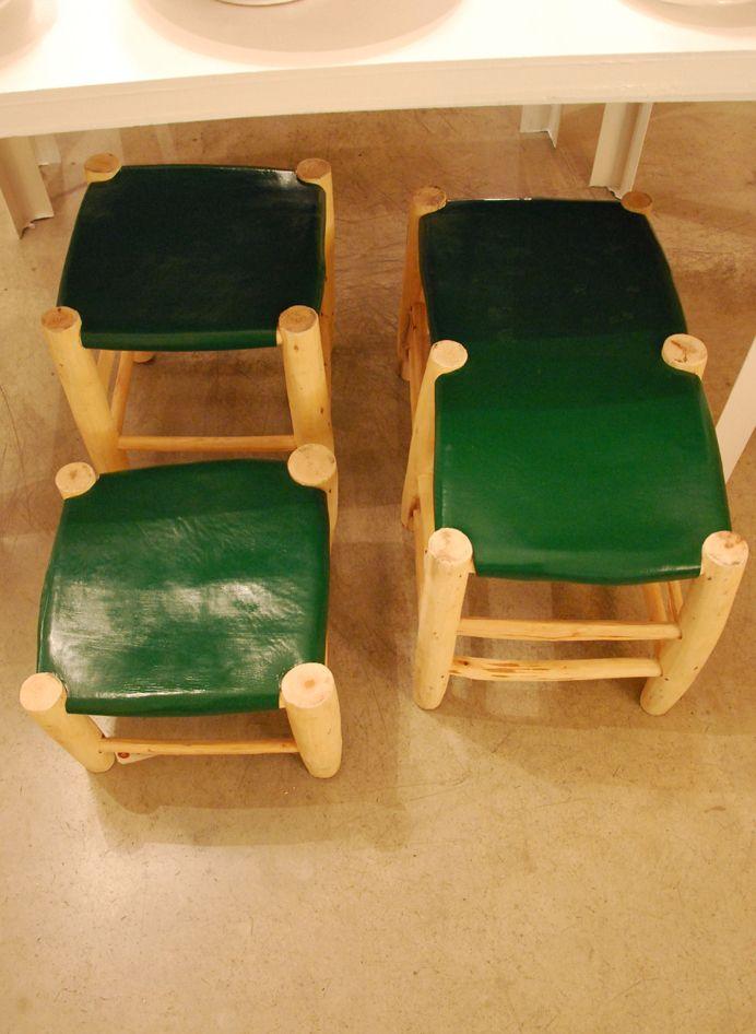 Honoré Décoration - Fauteuils et tabourets - Tabourets bois et cuir vert