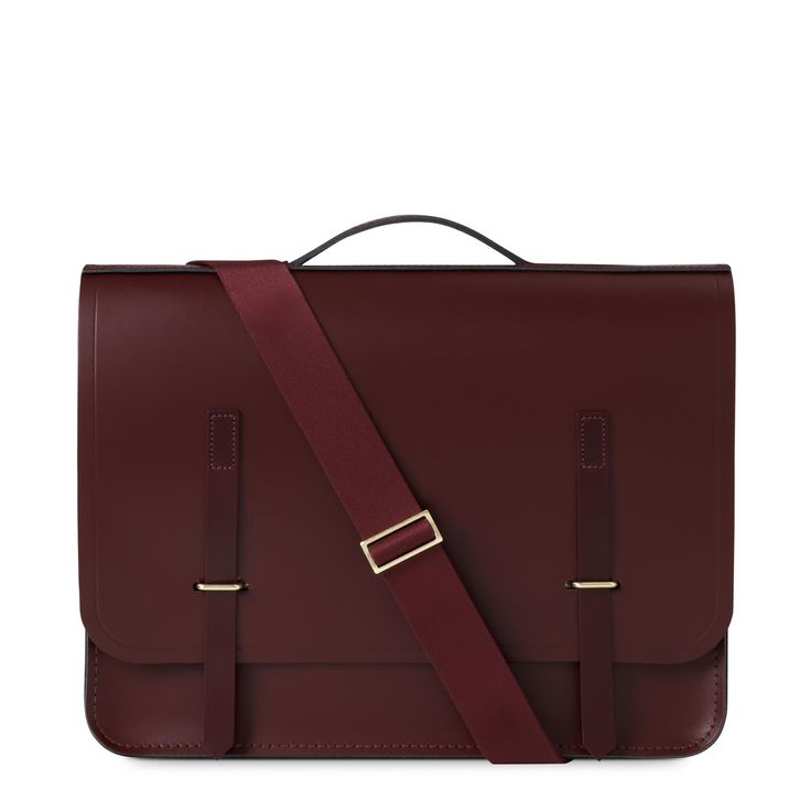 Oxblood and Burgundy Saddle with Tonal Webbing Slim Bridge Closure Bag | The Cambridge Satchel Company