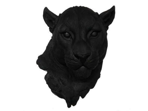 Black Panther Head Mount Wall Statue. Faux Taxidermy Fake Panther Head.