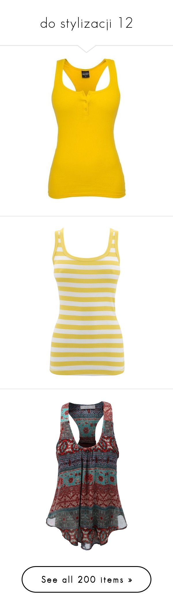 """""""do stylizacji 12"""" by ania18018970 ❤ liked on Polyvore featuring tops, yellow top, yellow tank, urban tank tops, button tank top, urban tank, shirts, leisure tops, tank tops and women's tops"""