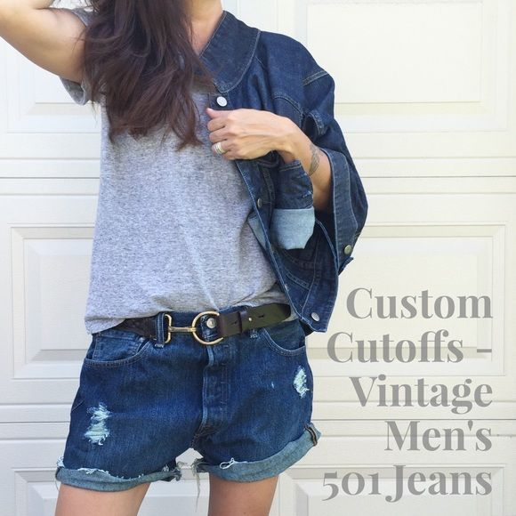 """Custom Distressed Cutoffs-Men's Levi's 501s sz 34 Super cool dark wash men's Levi's 501 button fly jeans, cut off and distressed by me! Men's size 34. 100% cotton. Can be worn lose and low or fitted, depends on your size. I'm a 2/26 for reference and these need a belt on me. Laying flat: Approx. 17"""" across waist, 21.5"""" across hips, 11"""" front rise, 3"""" inseam unrolled, 11"""" leg opening. Freshly laundered and ready to wear! Levi's 501s + custom = *PRICE FIRM UNLESS BUNDLED* Levi's Shorts Jean…"""