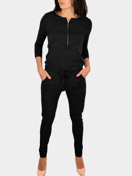 Black Zipper 3/4 Length Sleeves Drawstring Waist Jumpsuit