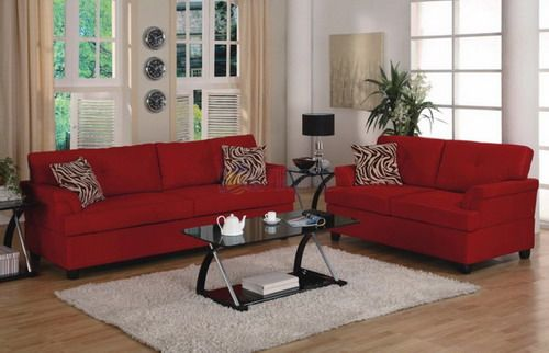 contemporary red sofa set small living room furniture