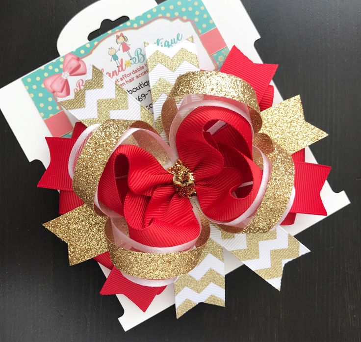 Gold red white christmas hair bow-Christmas hair bow-holiday hair bow-gold red hair bow-large christmas bows- large layered christmas  bow- by Bethlandboutique18 on Etsy https://www.etsy.com/listing/256931966/gold-red-white-christmas-hair-bow
