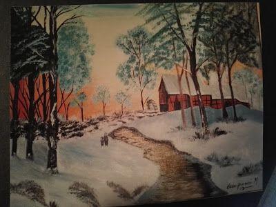 Βάλε χρώμα: Πίνακας (40X50) χειμερινό τοπίο