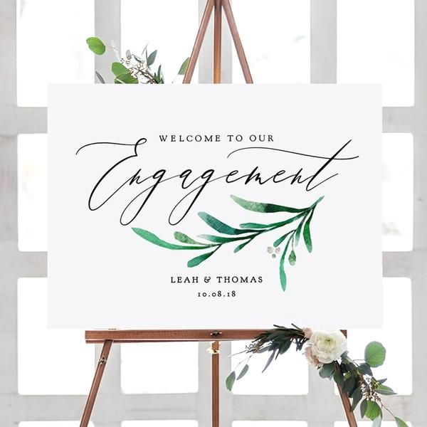 Engagement Welcome Sign - Greenery Wedding in 2019 Engagement