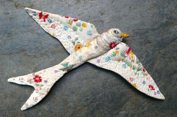 Décoration vintage oiseau à accrocher l'hirondelle à
