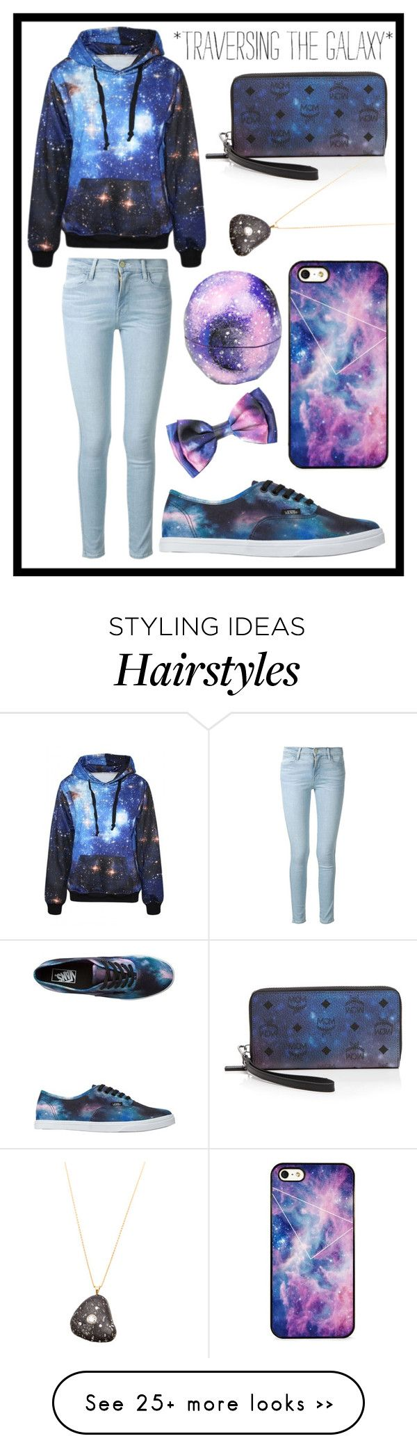 """#172 galaxy"" by xjet1998x on Polyvore featuring Frame Denim, Eos, Vans, MCM, CVC Stones and BlissfulCASE"